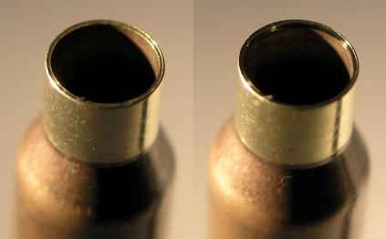 Case before and after chamfering the inside of the neck